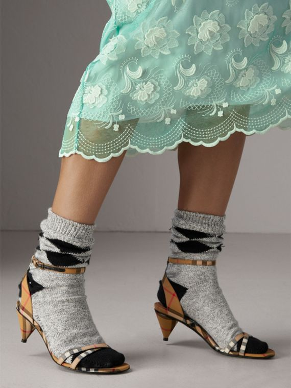 Vintage Check Cotton Cone-heel Sandals in Antique Yellow - Women | Burberry - cell image 2