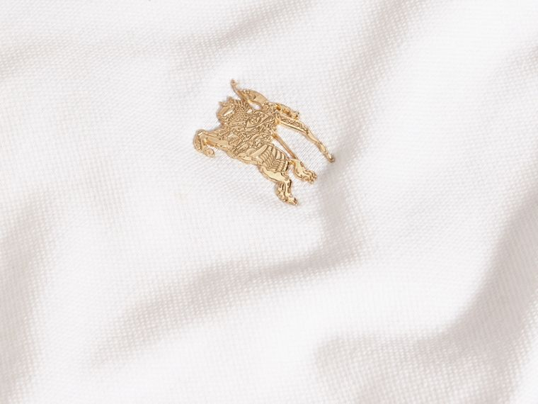 Stretch Cotton Piqué Polo Shirt in White - cell image 1