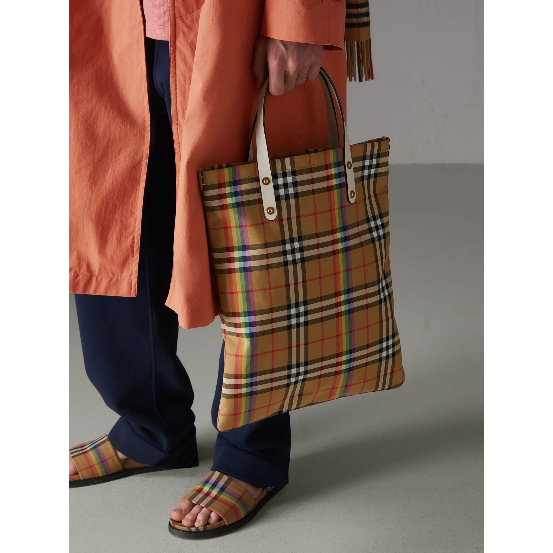 Rainbow Vintage Check Medium Shopper in Natural | Burberry - gallery image 6