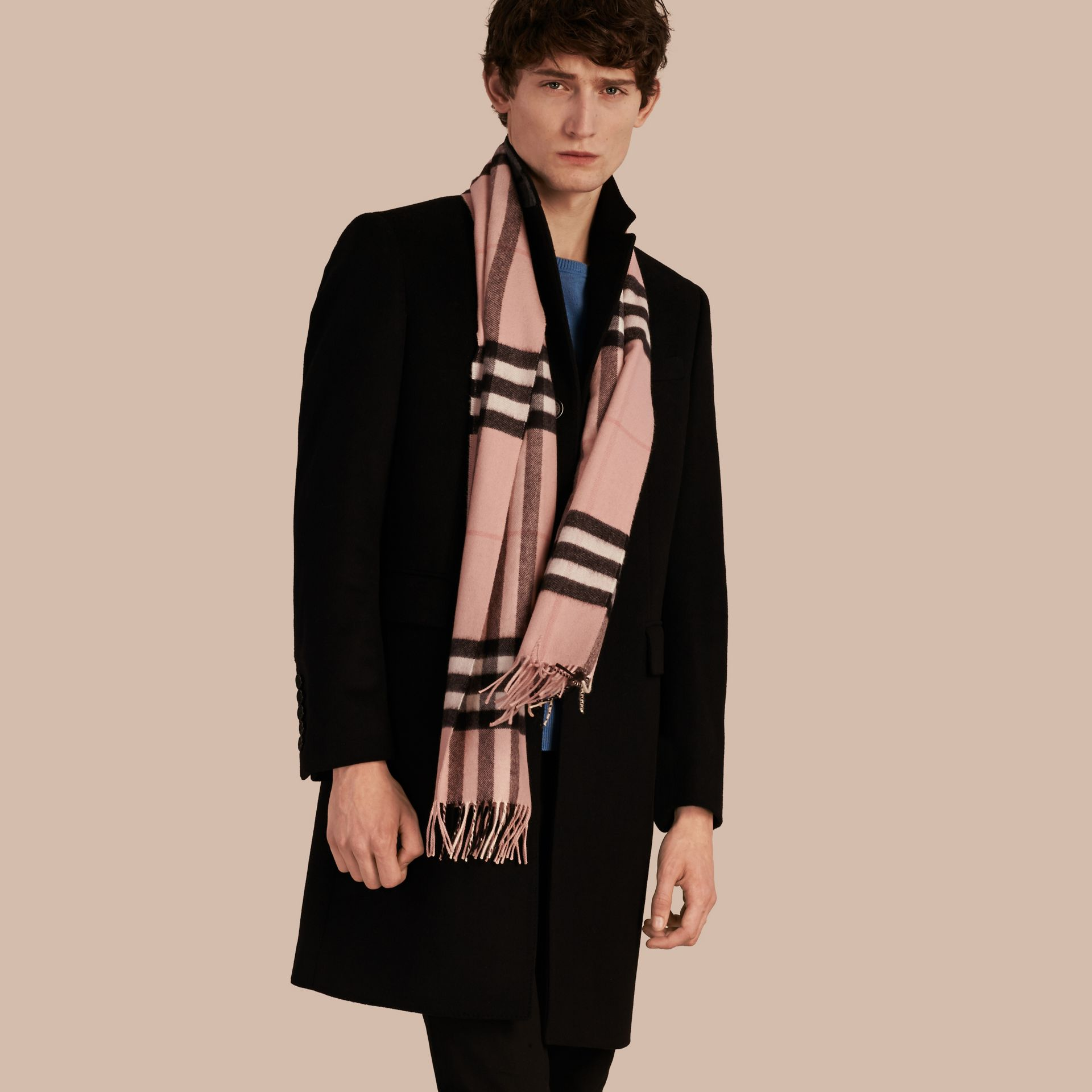 The Classic Cashmere Scarf in Check Rose - gallery image 4