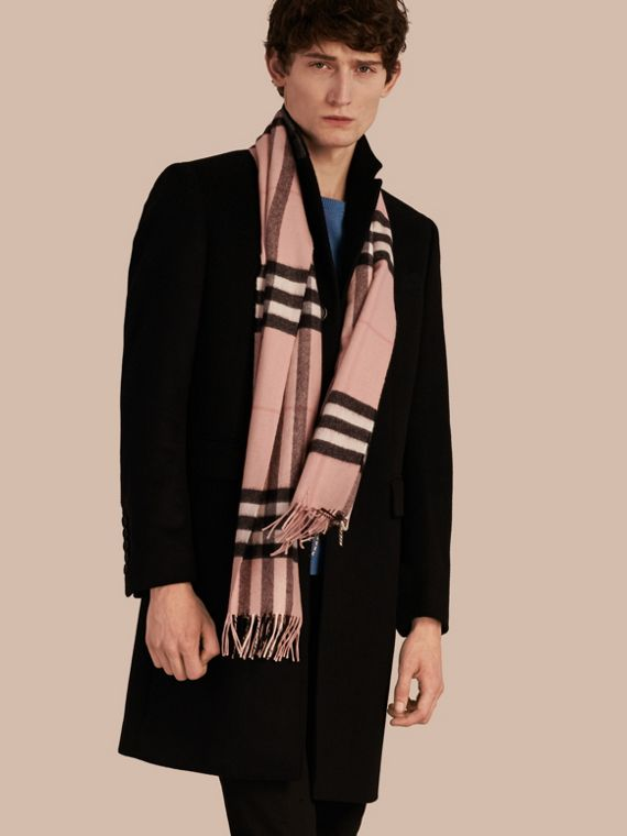 The Classic Cashmere Scarf in Check in Ash Rose - cell image 3