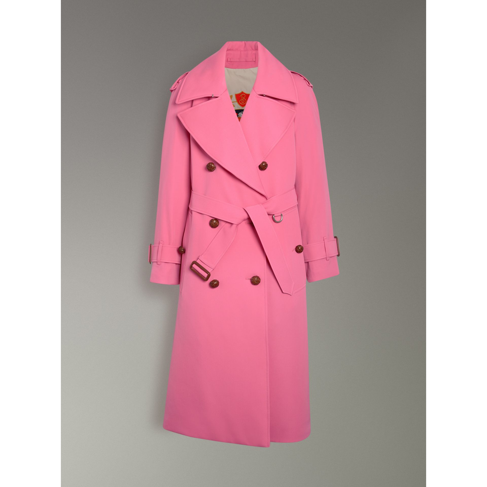 Oversized Lapel Wool Gabardine Trench Coat in Bright Pink - Women | Burberry Australia - gallery image 3