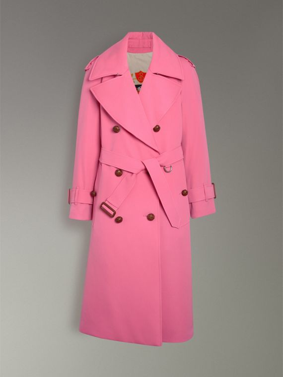 Oversized Lapel Wool Gabardine Trench Coat in Bright Pink - Women | Burberry Australia - cell image 3