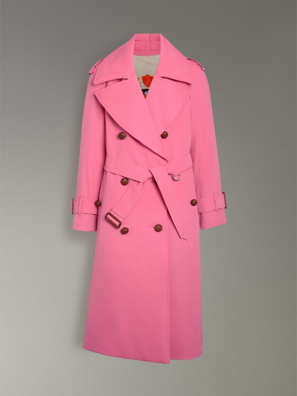 Oversized Lapel Wool Gabardine Trench Coat in Bright Pink - Women | Burberry - cell image 3