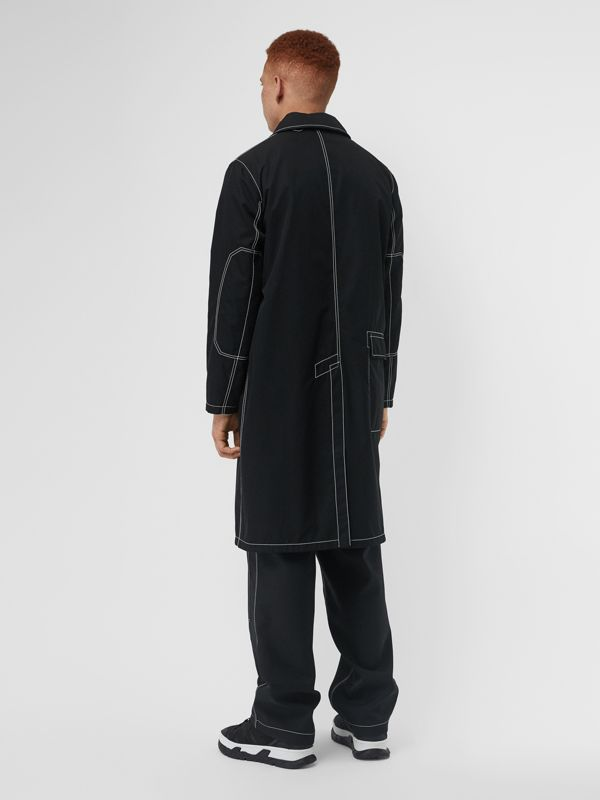 Topstitch Detail Cotton Gabardine Car Coat in Black - Men | Burberry - cell image 2