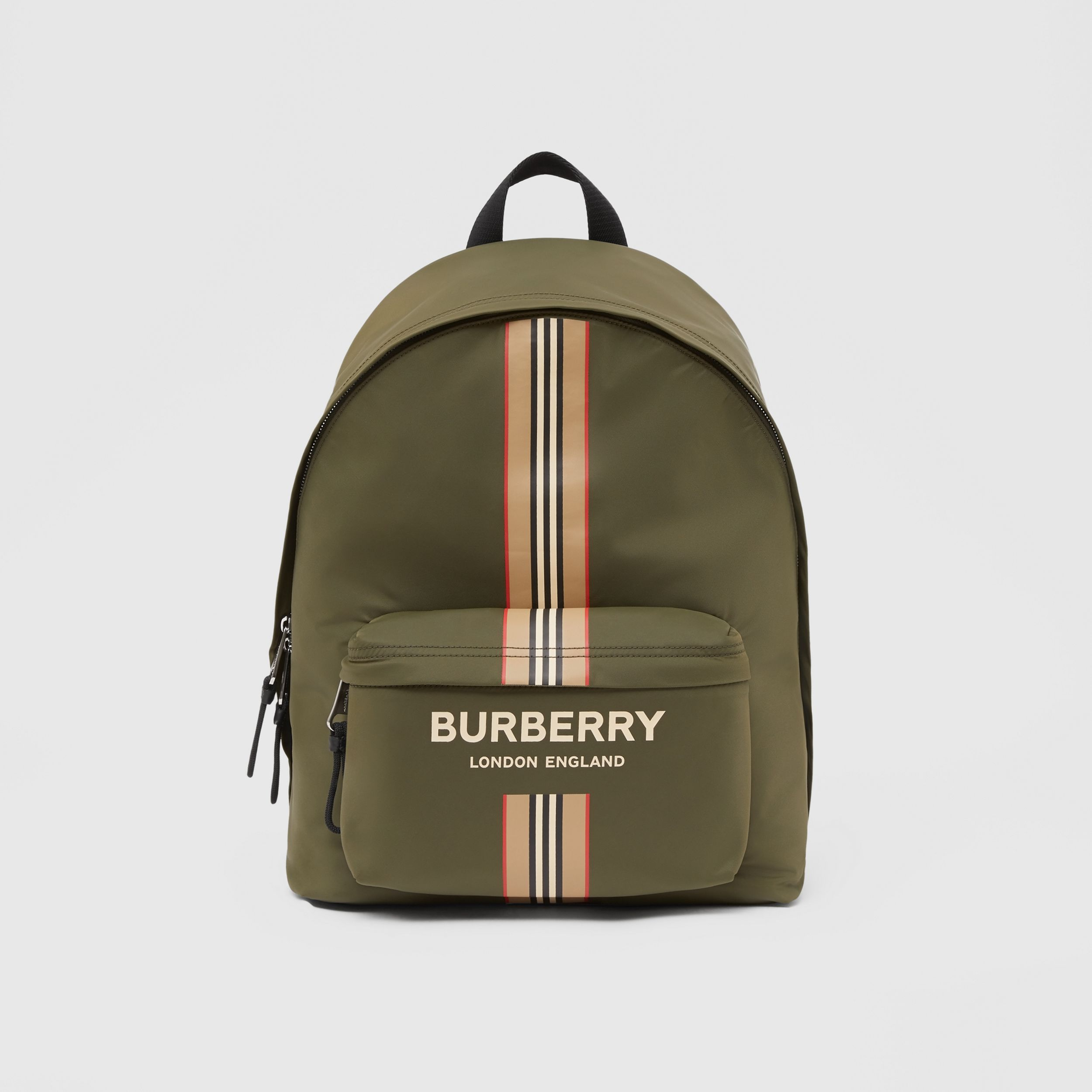 Logo and Icon Stripe Print ECONYL® Backpack in Dark Olive Green | Burberry Hong Kong S.A.R. - 1