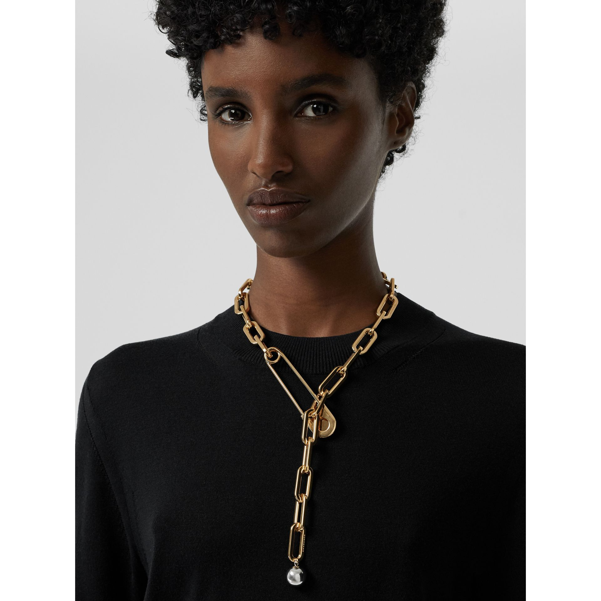 Crystal Daisy Kilt Pin Gold-plated Link Drop Necklace in Light - Women | Burberry - gallery image 2
