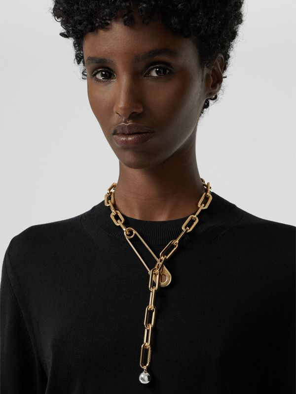 Crystal Daisy Kilt Pin Gold-plated Link Drop Necklace in Light - Women | Burberry - cell image 2