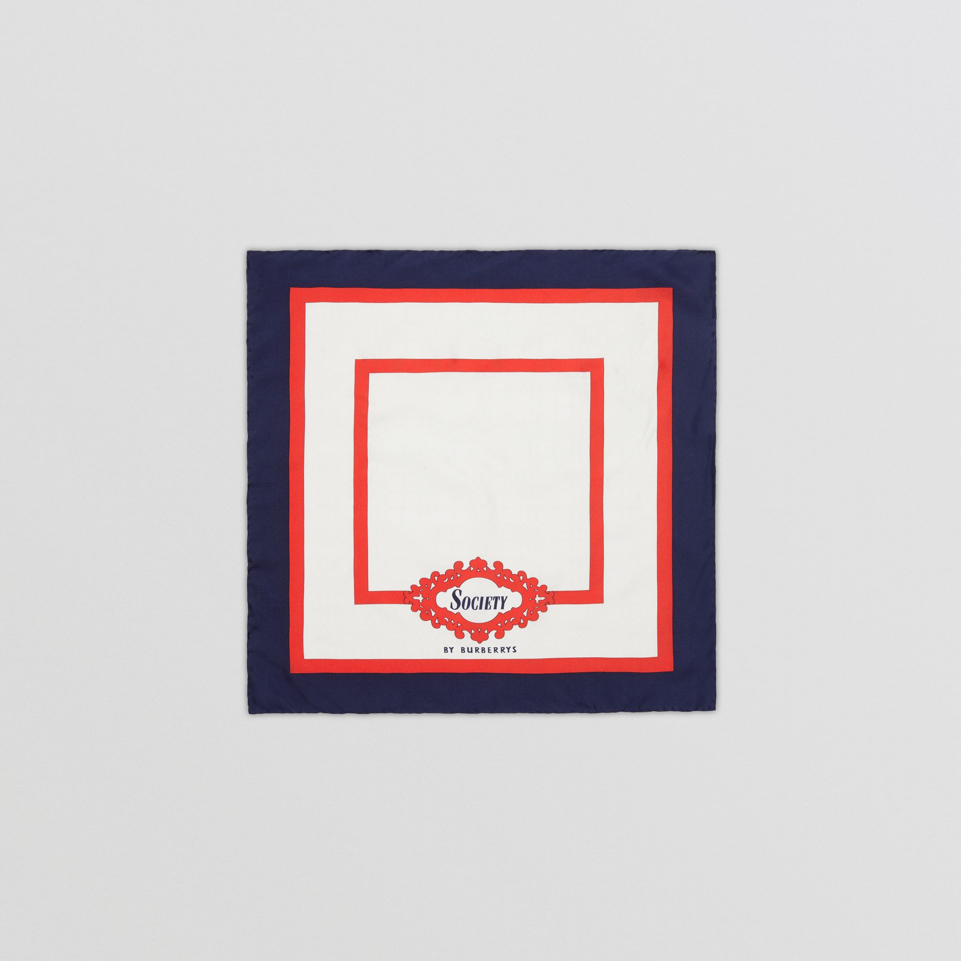 Reissued Archive Society Print Silk Small Square Scarf in Navy | Burberry United Kingdom - gallery image 0