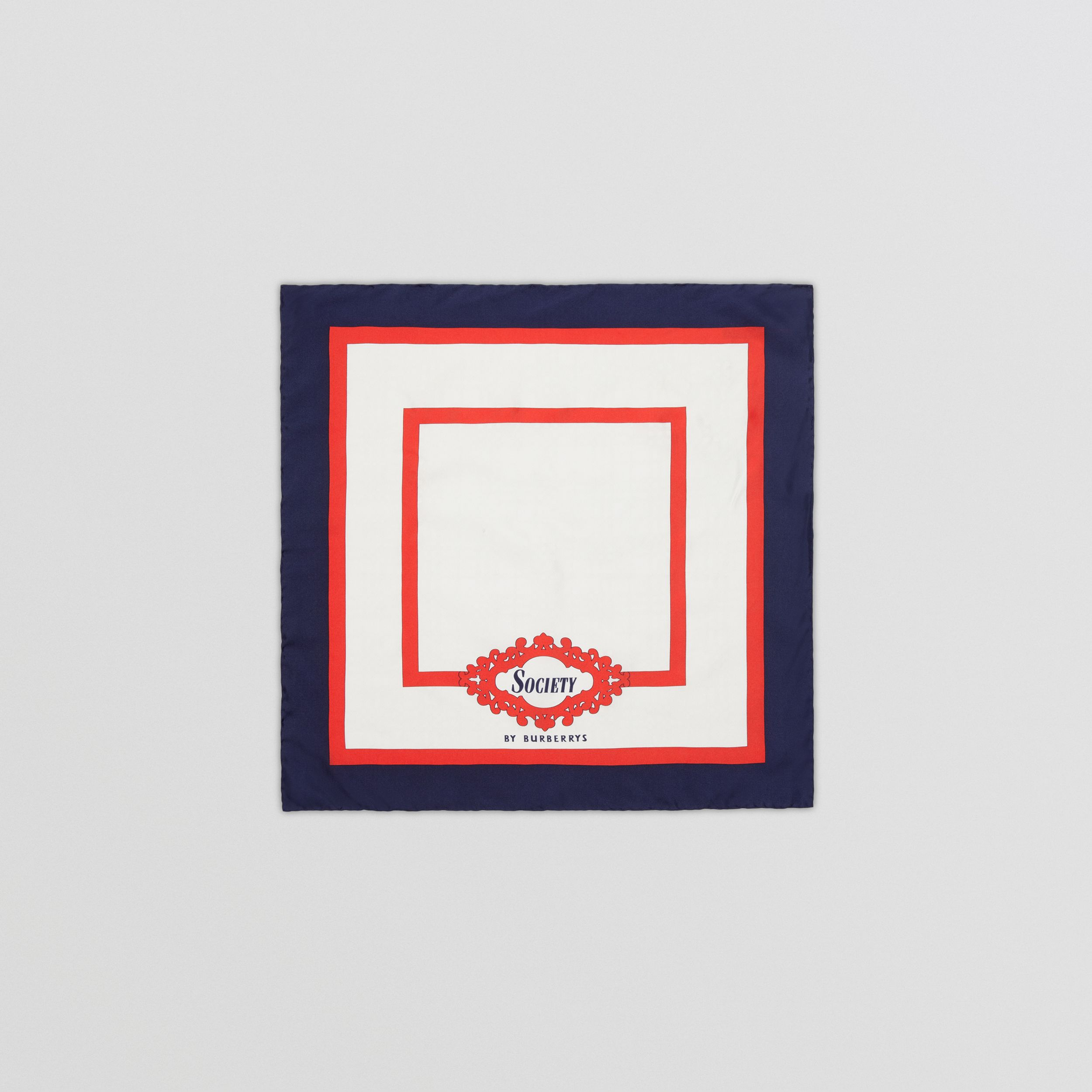 Reissued Archive Society Print Silk Small Square Scarf in Navy | Burberry United Kingdom - 1