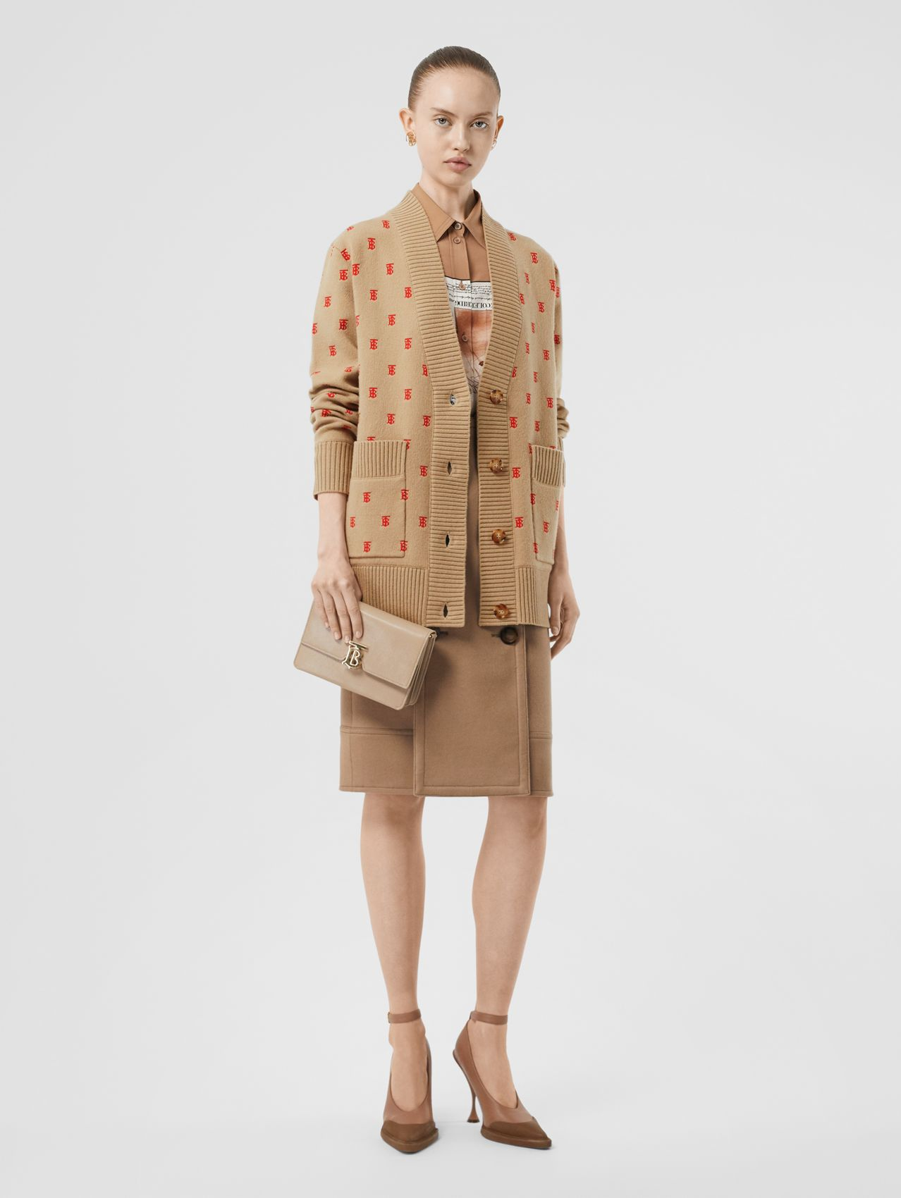 Monogram Wool Cashmere Blend Oversized Cardigan in Archive Beige