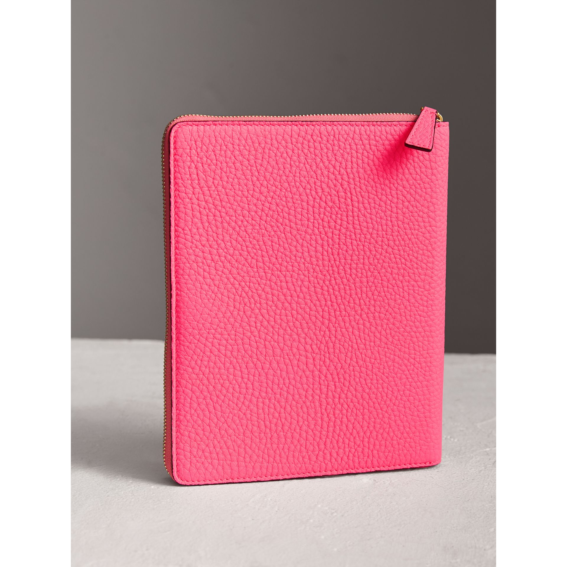 Embossed Grainy Leather Ziparound A5 Notebook Case in Bright Pink | Burberry - gallery image 2