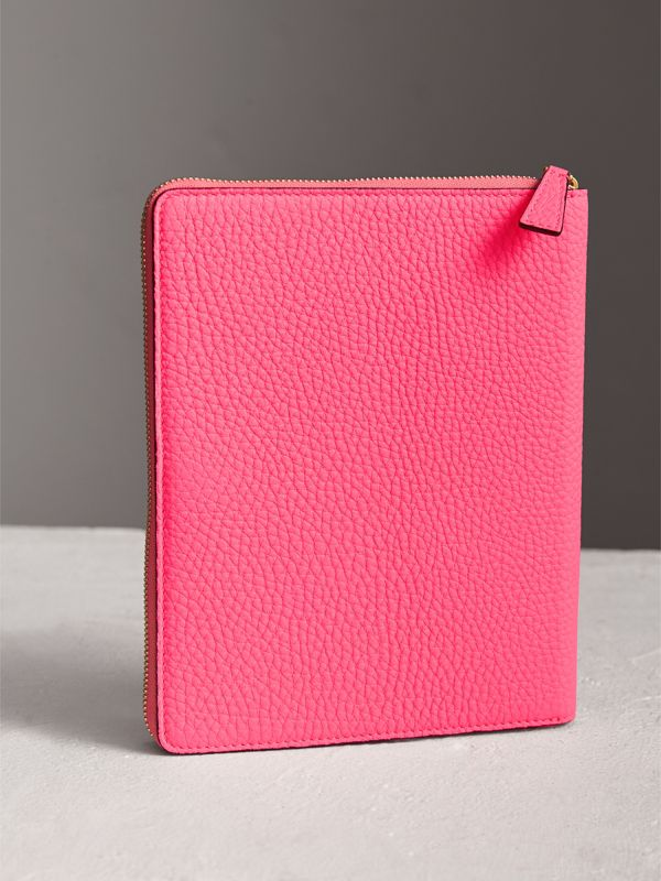 Embossed Grainy Leather Ziparound A5 Notebook Case in Bright Pink | Burberry - cell image 2