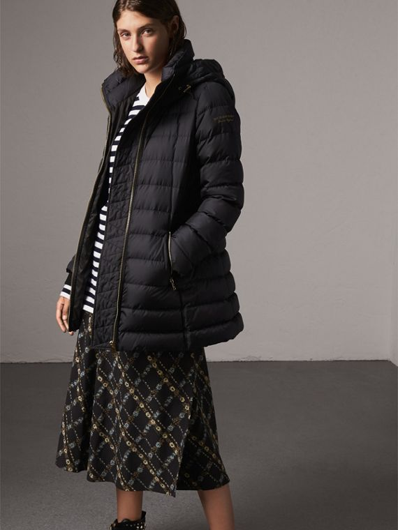 Hooded Down-filled Puffer Jacket in Navy