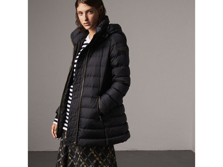 Hooded Down-filled Puffer Jacket in Navy - Women | Burberry - cell image 4