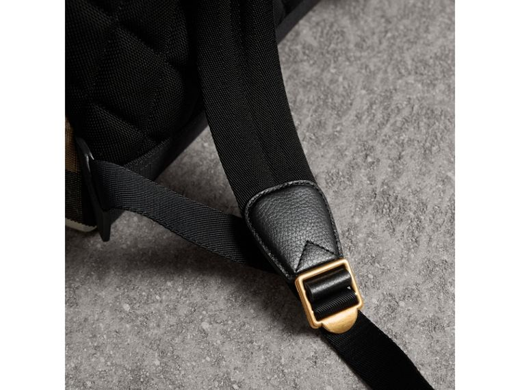 Canvas Check and Leather Backpack in Black - Men | Burberry - cell image 1