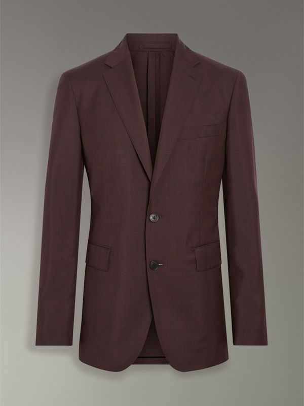 Soho Fit Puppytooth Wool Mohair Suit in Burgundy - Men | Burberry - cell image 3