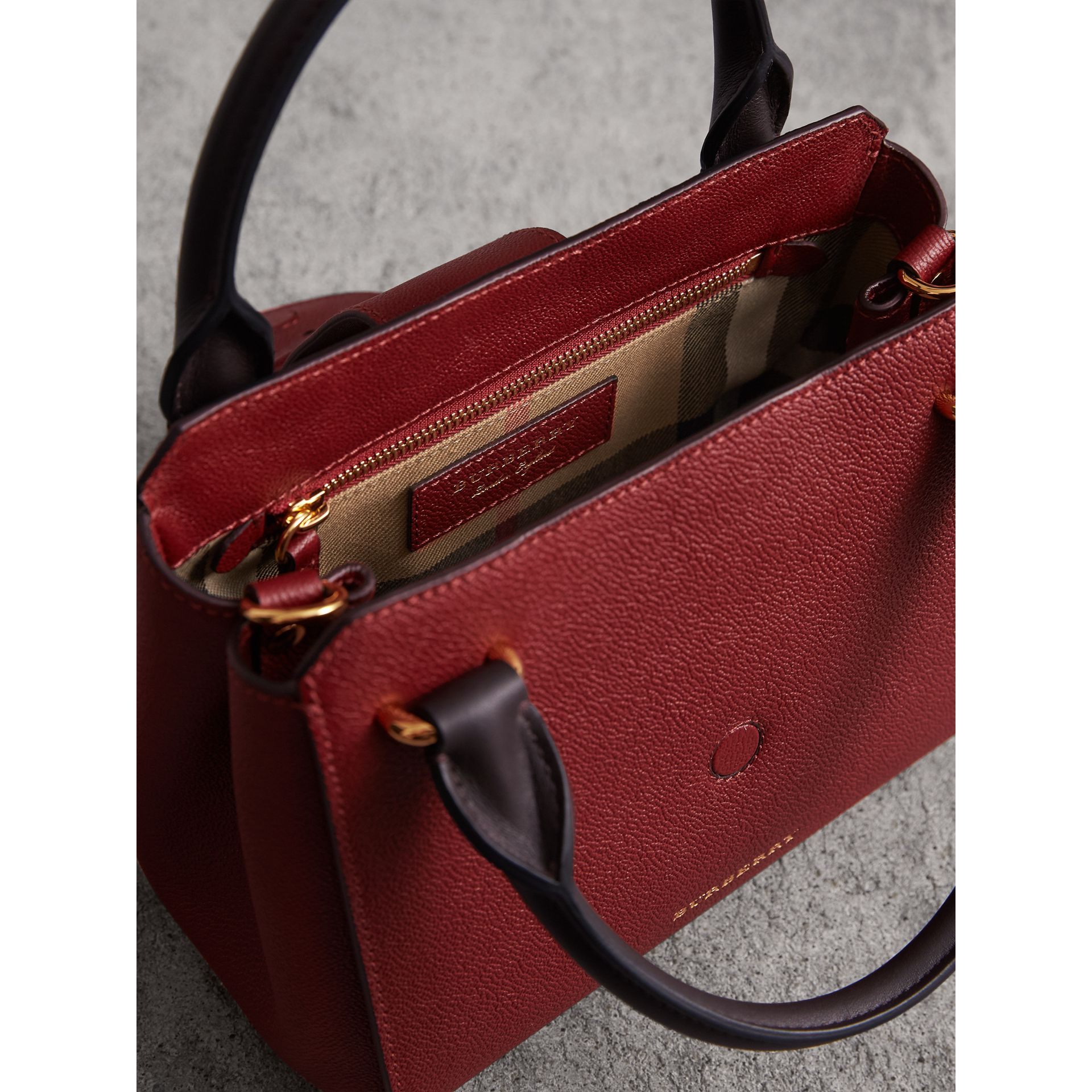 The Small Buckle Tote in Two-tone Leather in Burgundy - Women | Burberry - gallery image 5
