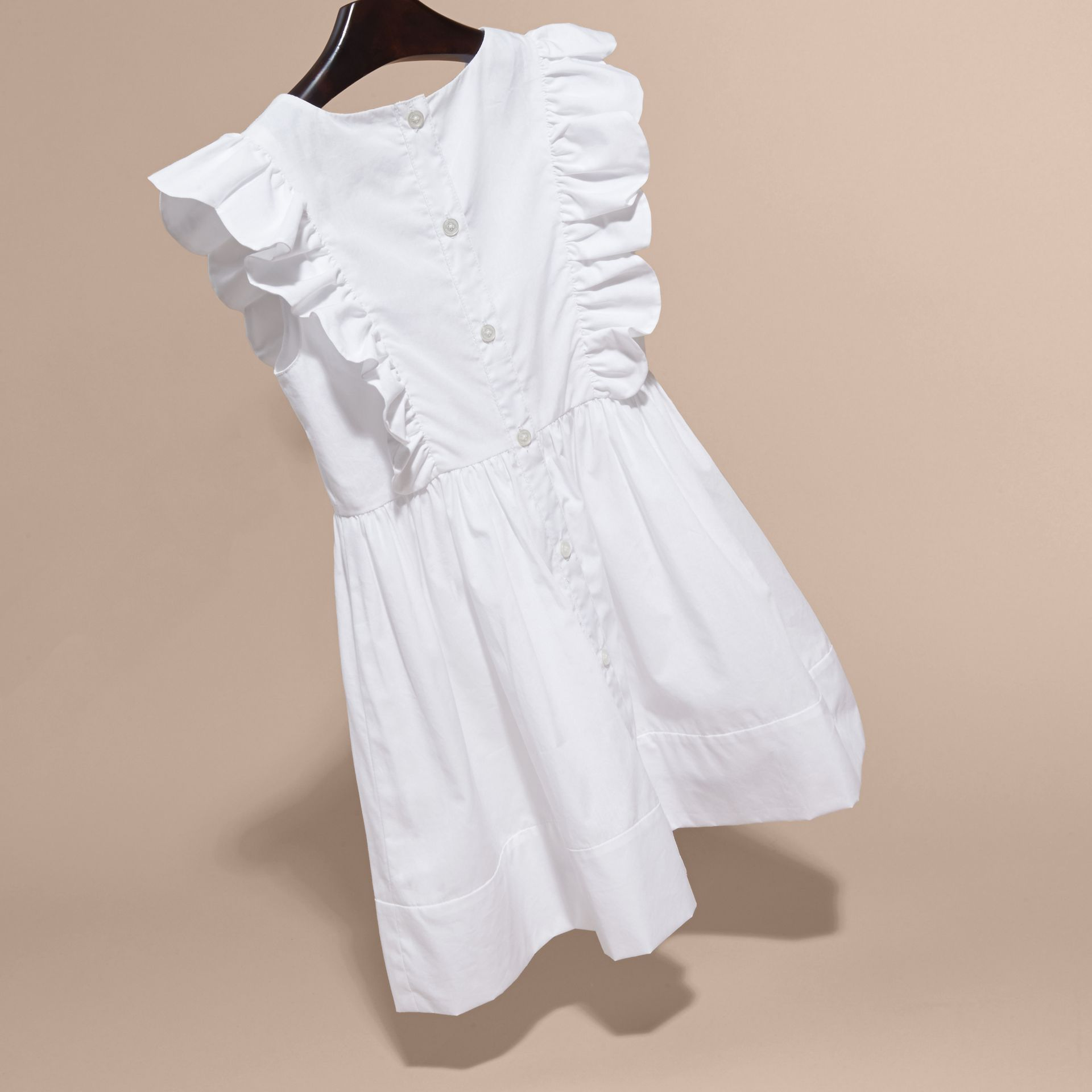 Ruffle and Pleat Detail Cotton Dress in White | Burberry - gallery image 4