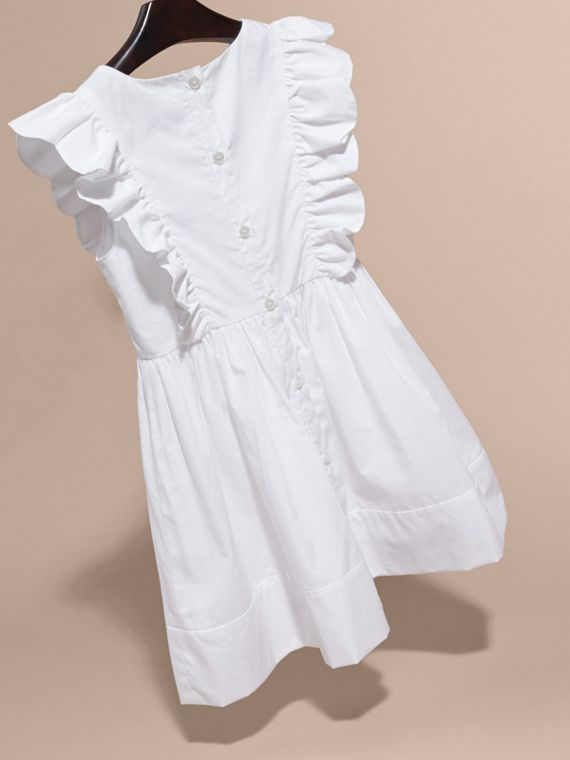 Ruffle and Pleat Detail Cotton Dress in White | Burberry Hong Kong - cell image 3