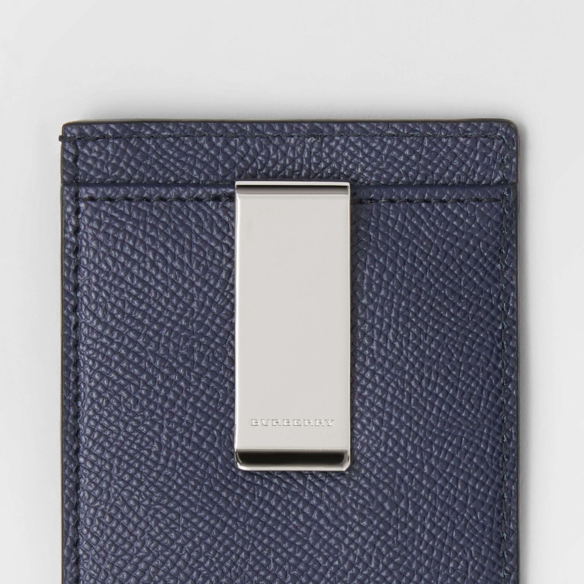 Grainy Leather Money Clip Card Case in Regency Blue - Men | Burberry Australia - gallery image 1