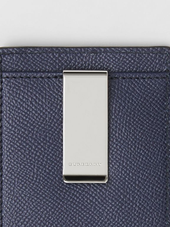 Grainy Leather Money Clip Card Case in Regency Blue - Men | Burberry - cell image 1