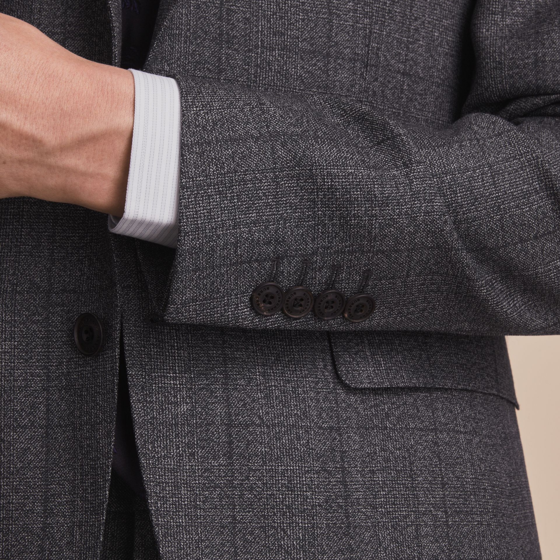 Slim Fit Check Half-canvas Wool Suit - gallery image 6