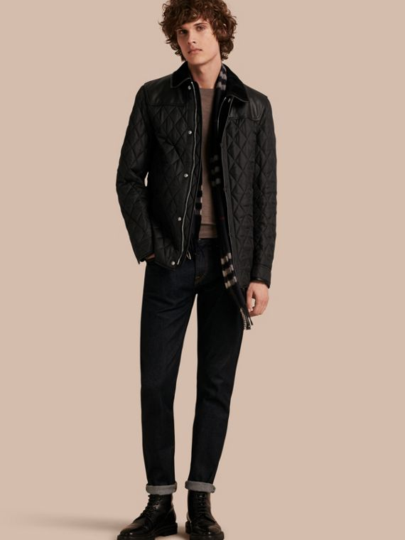 Lambskin Yoke Diamond Quilted Jacket