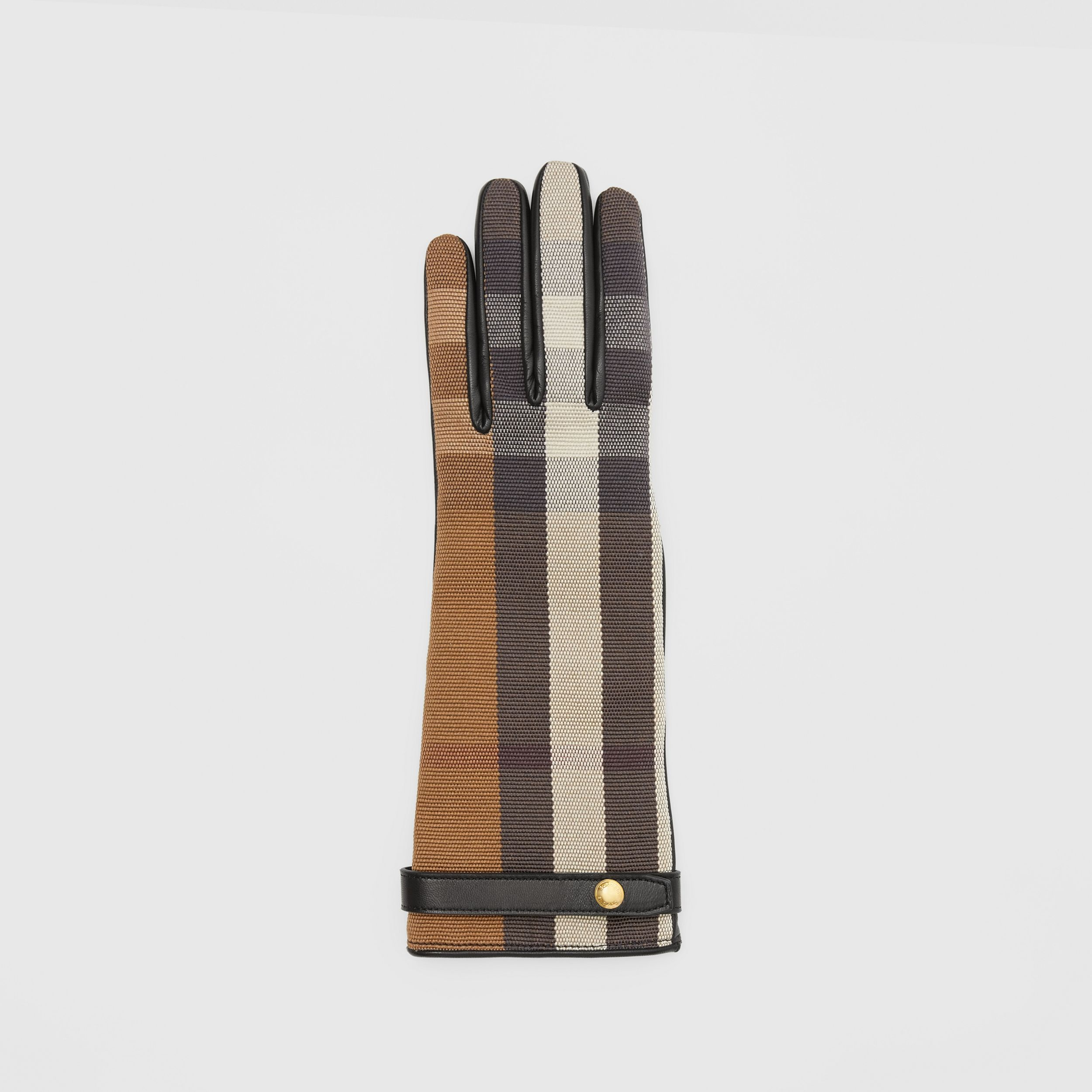Cashmere-lined Technical Check and Lambskin Gloves in Birch Brown - Women | Burberry - 3