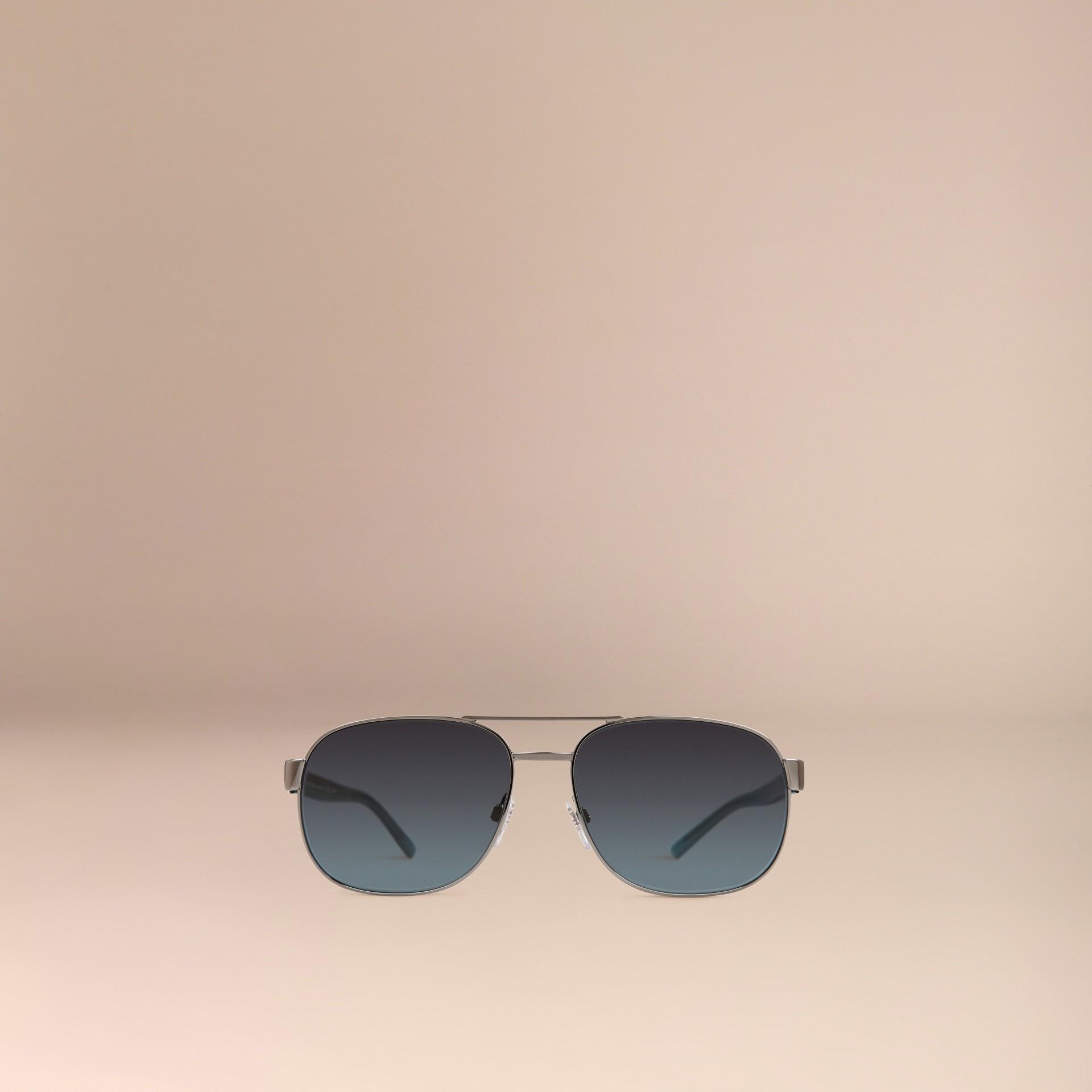 Blue Square Frame Aviator Polarised Sunglasses Blue - gallery image 3