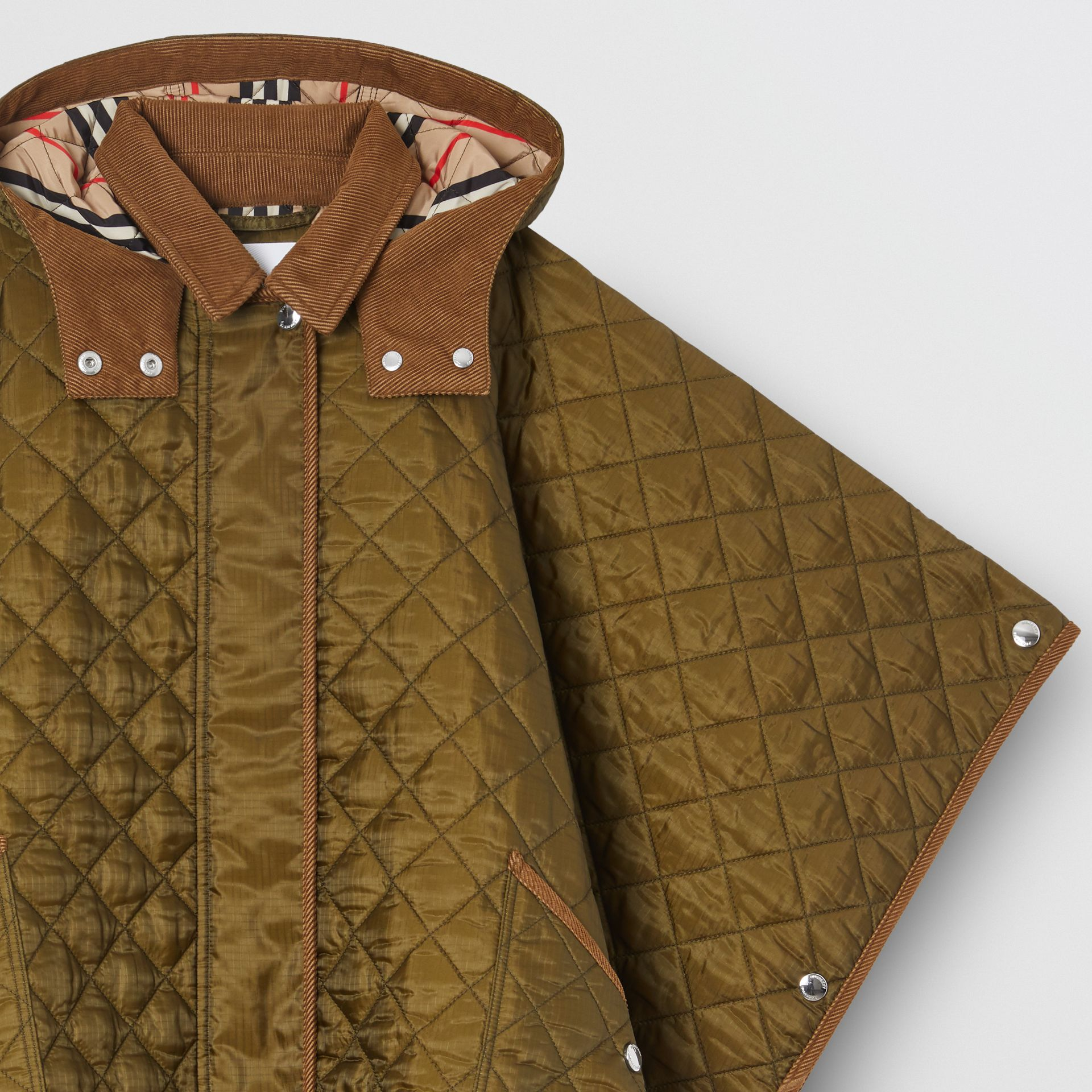 Corduroy Trim Diamond Quilted Hooded Poncho in Military Olive | Burberry - gallery image 4