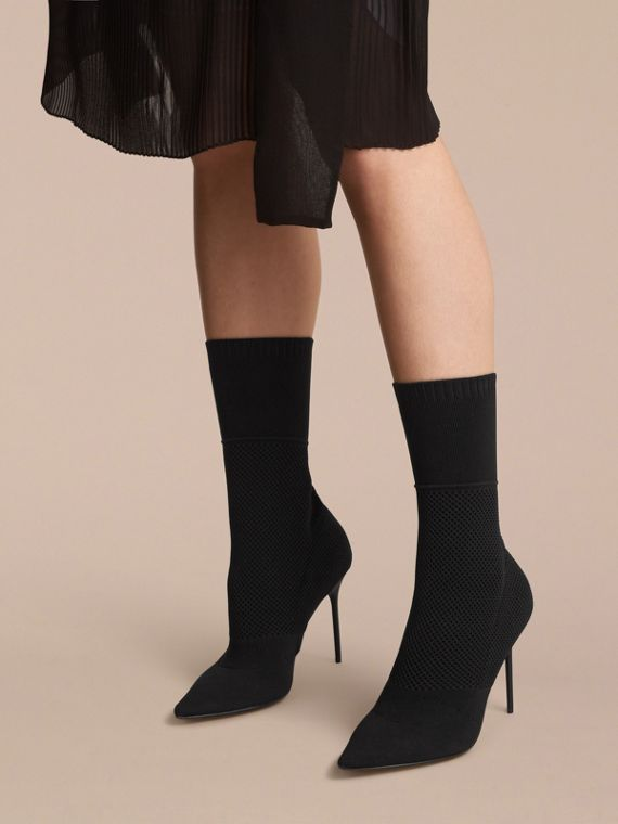 Mid-calf Knitted Mesh Boots in Black - Women | Burberry - cell image 2