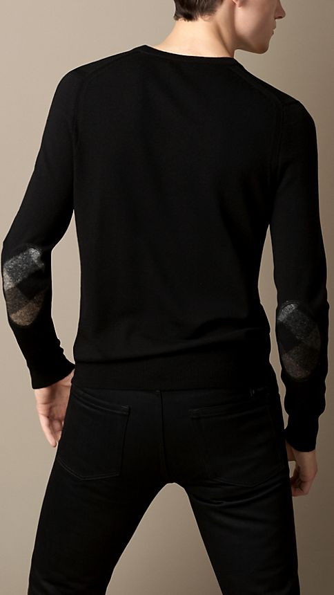 Black Check Detail Merino Wool Sweater - Image 2