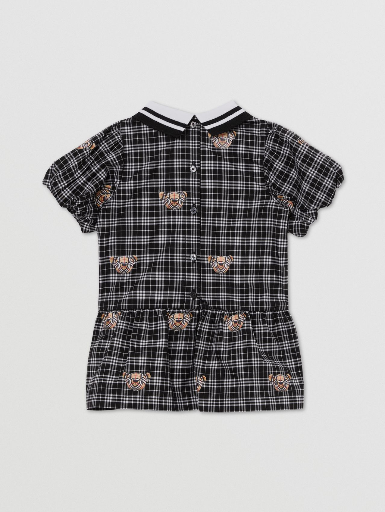 Puff-sleeve Thomas Bear Print Check Cotton Dress in Black/white