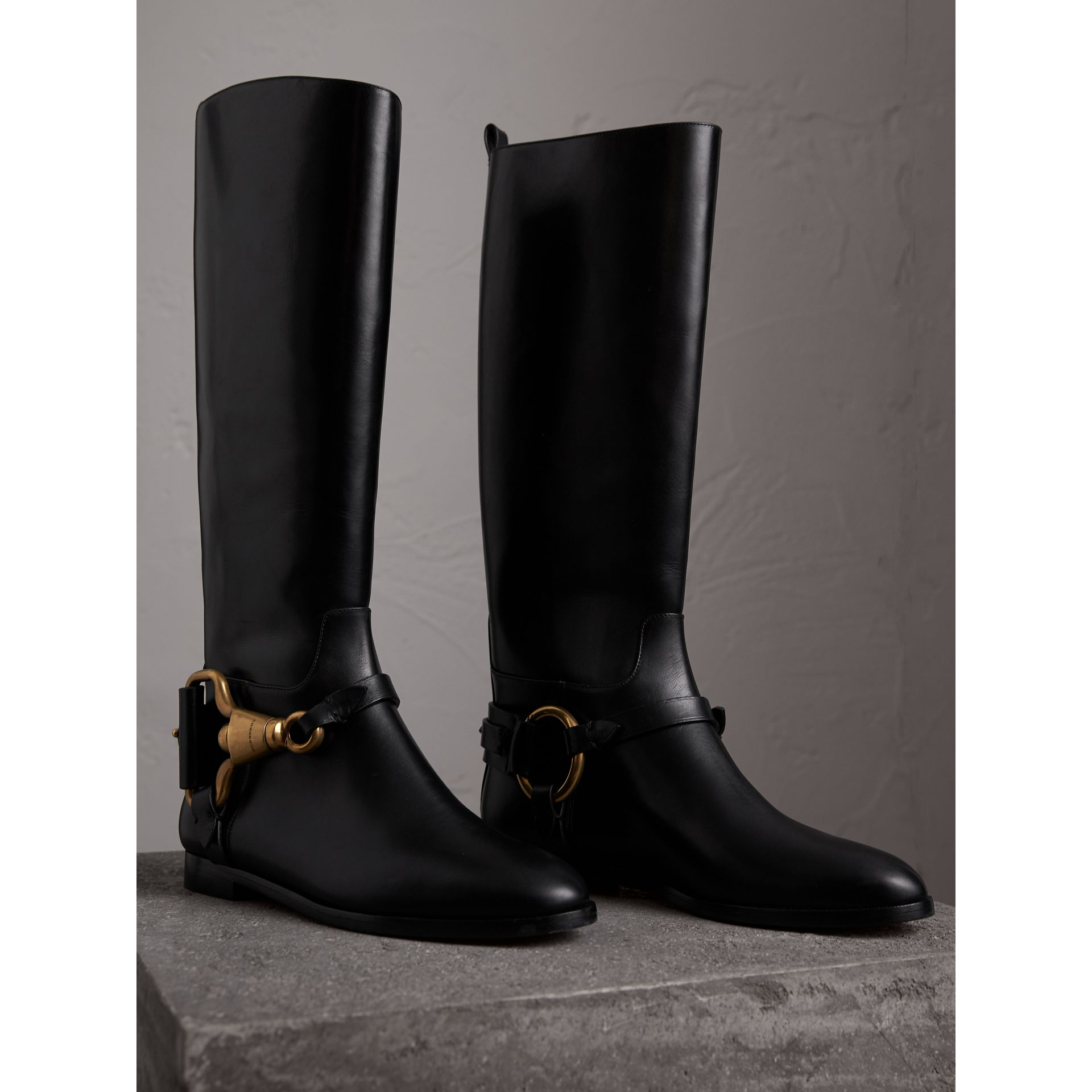 Equestrian Detail Leather Riding Boots in Black - Women | Burberry - gallery image 5