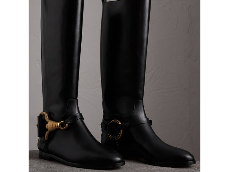 Equestrian Detail Leather Riding Boots in Black - Women | Burberry United Kingdom - cell image 4