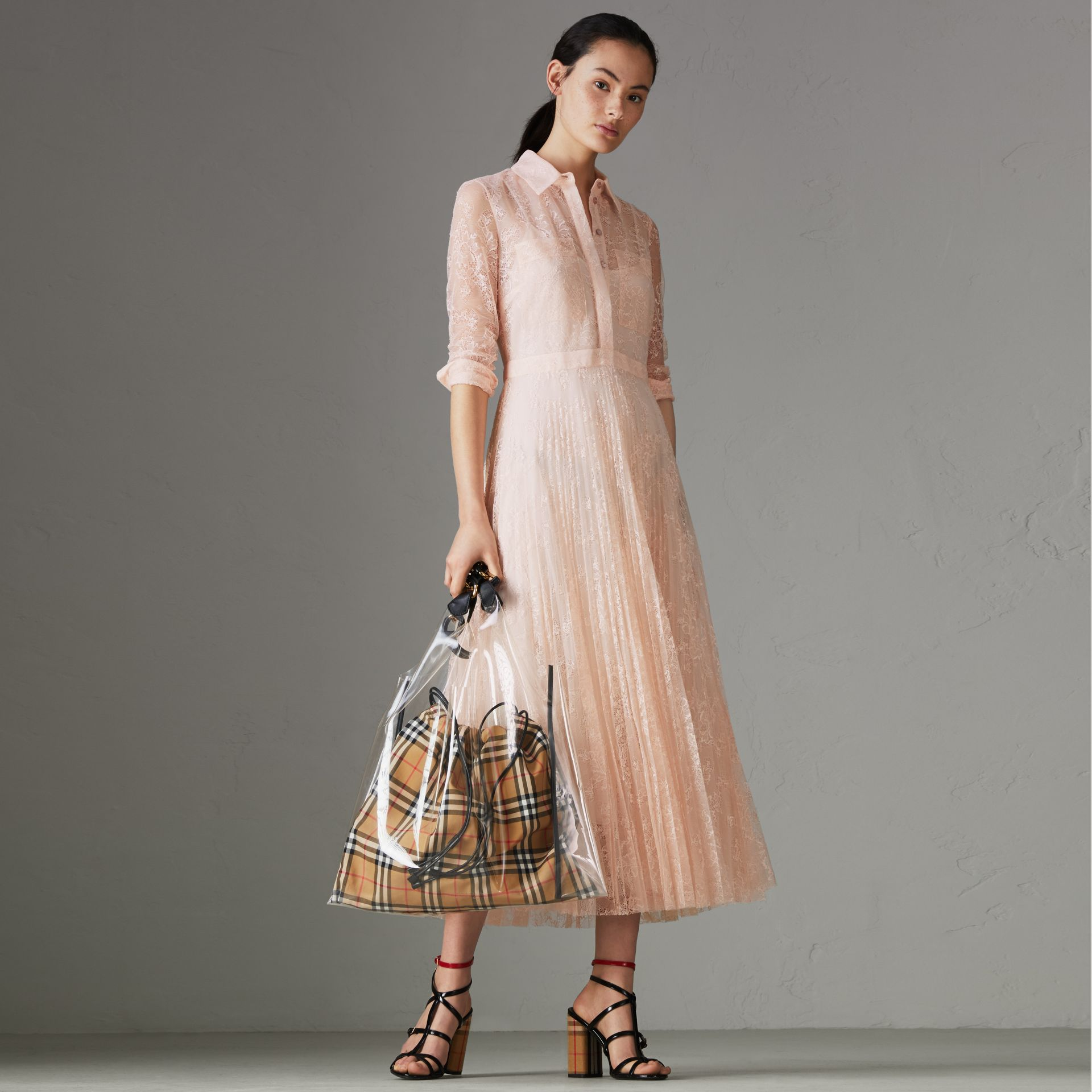 Pleated Lace Dress in Powder Pink - Women | Burberry - gallery image 0