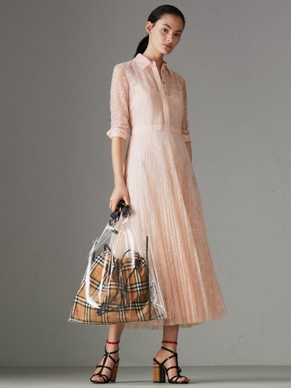 Vestido plissado com renda (Rosa Talco)