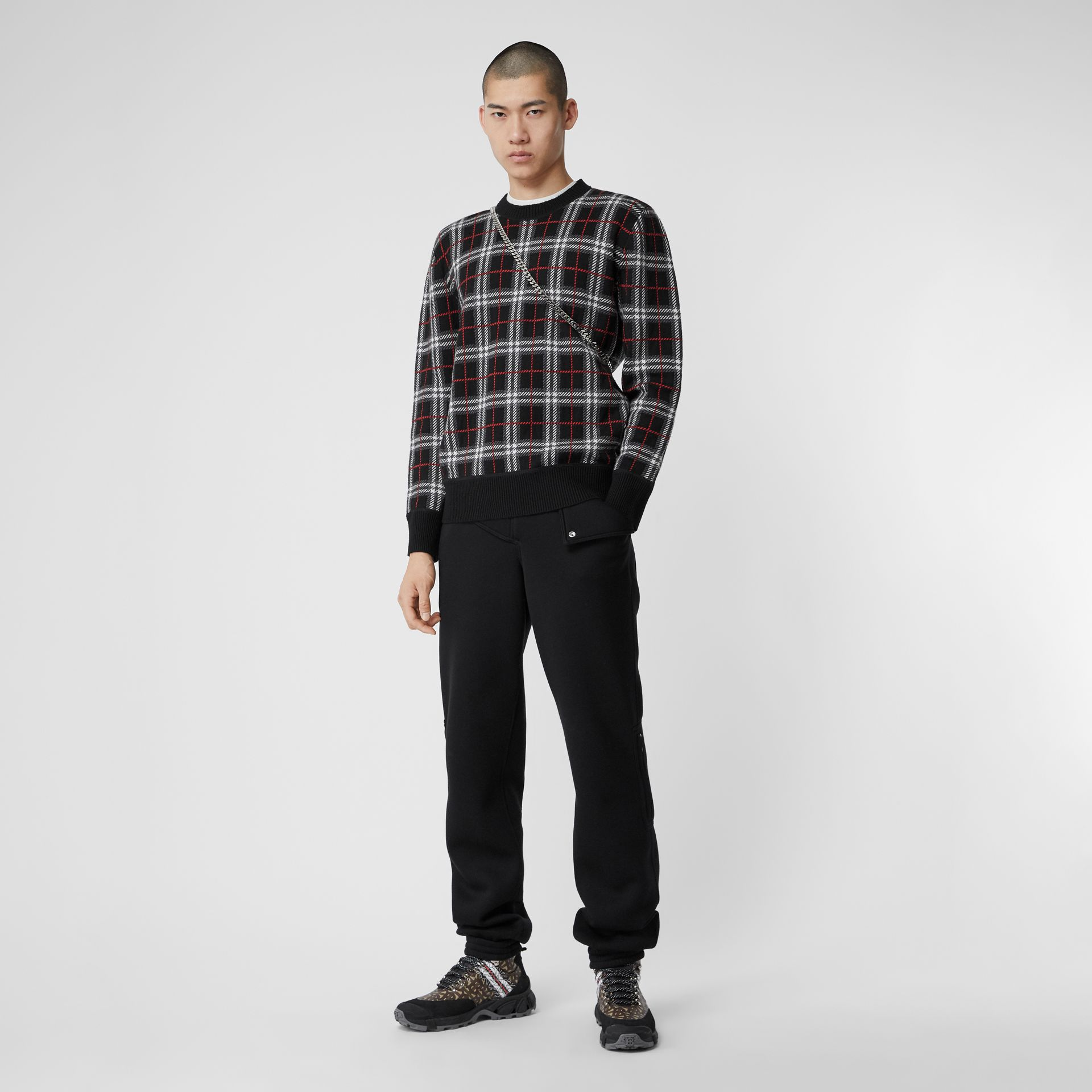 Check Merino Wool Jacquard Sweater in Black - Men | Burberry - gallery image 0