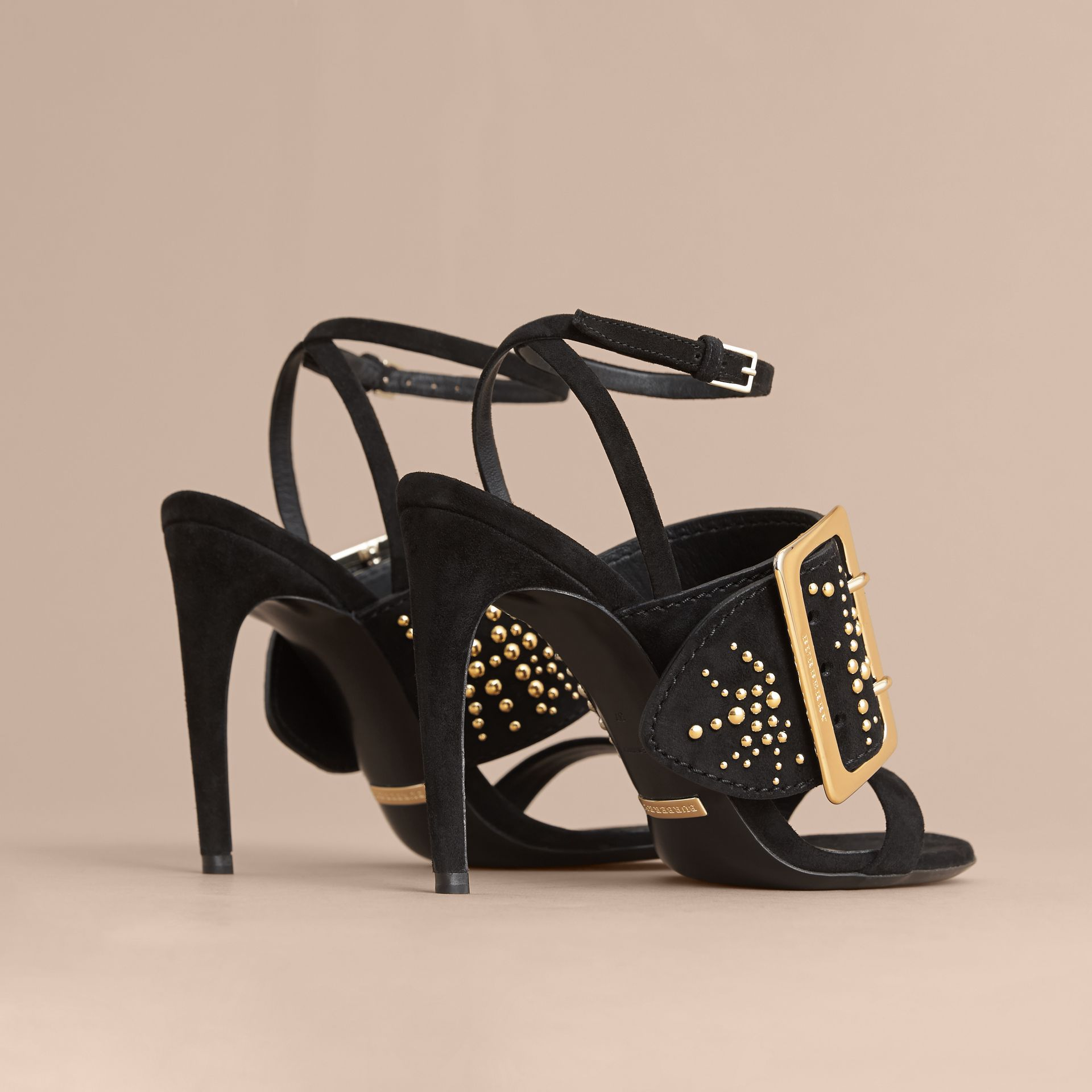 Riveted Suede Sandals with Buckle Detail in Black - Women | Burberry - gallery image 3