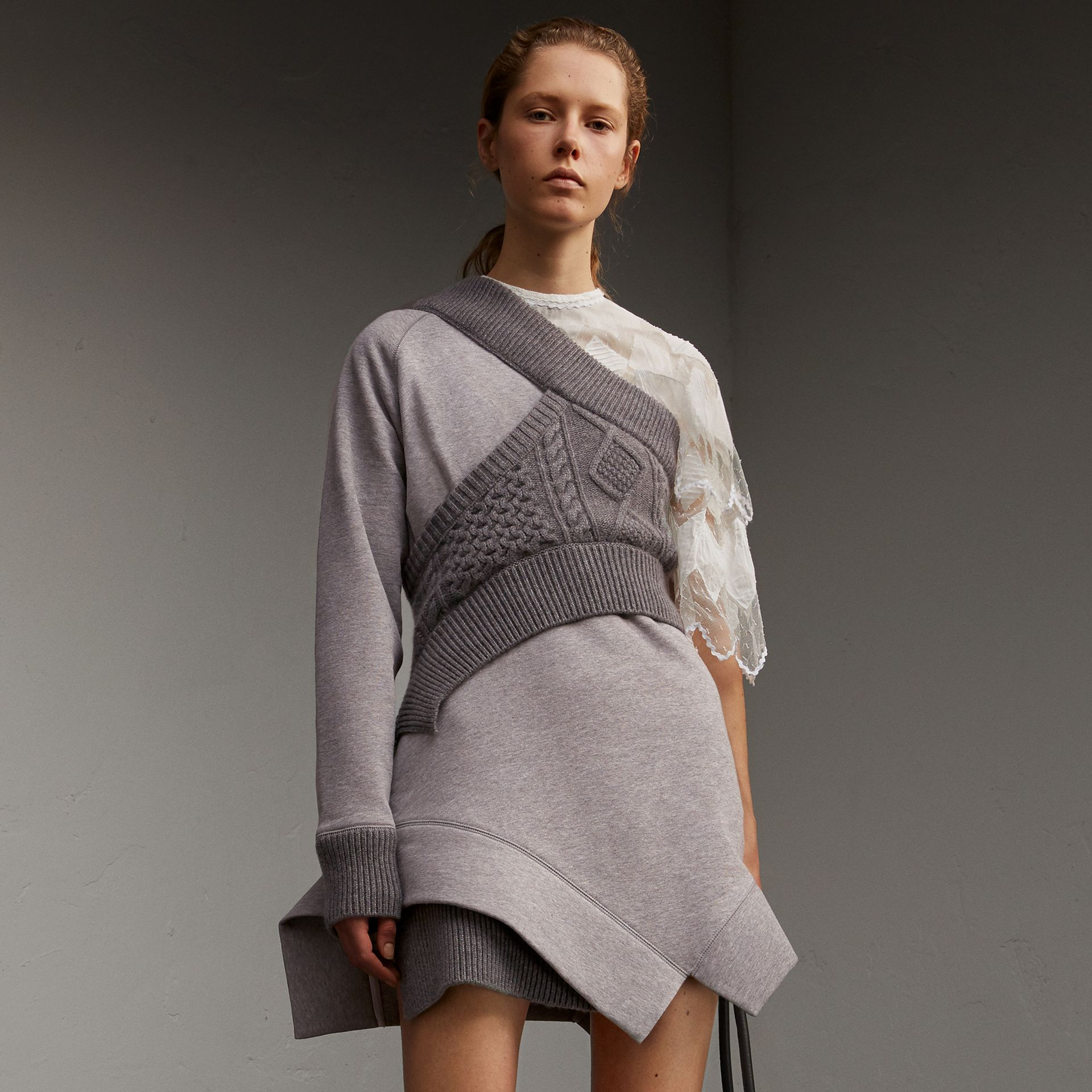 Cable Knit Panel Sweatshirt Dress - gallery image 1