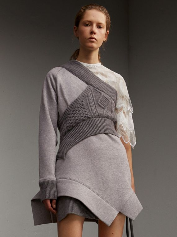 Cable Knit Panel Sweatshirt Dress