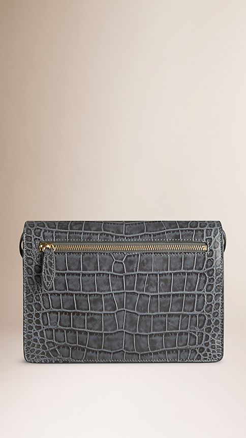 Grey Small Antiqued Alligator Crossbody Bag - Image 7