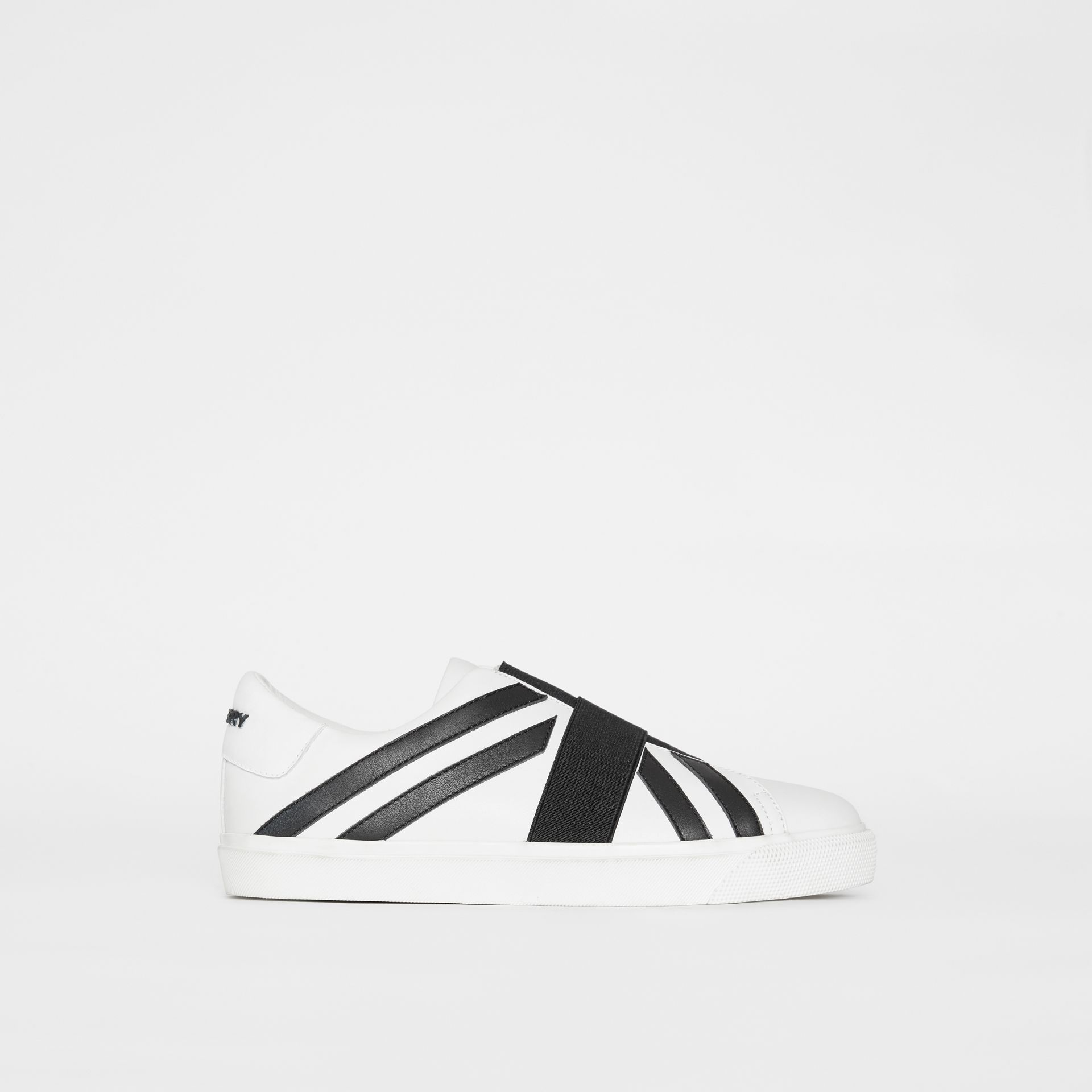 Union Jack Motif Slip-on Sneakers in Optic White/black - Women | Burberry - gallery image 5