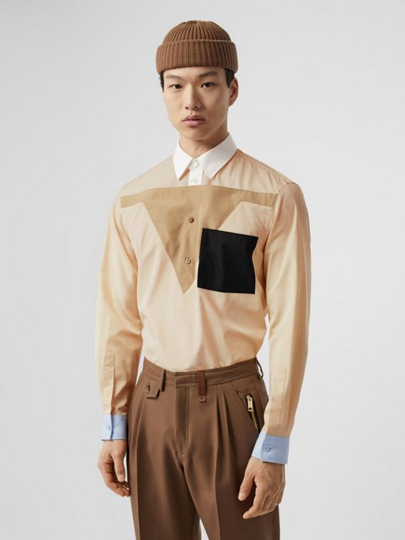 Classic Fit Pocket Detail Colour Block Cotton Shirt in Buttermilk