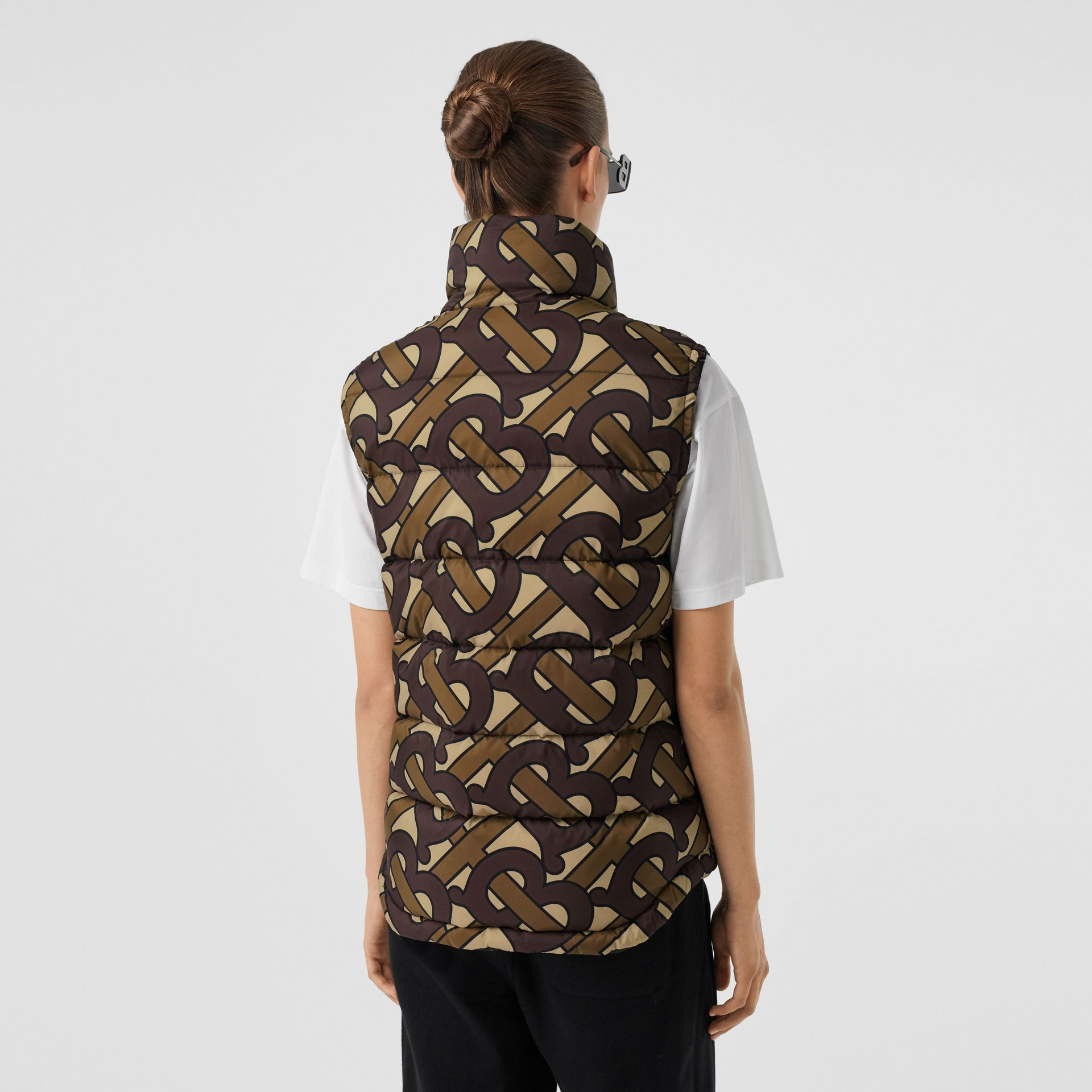 Monogram Print Puffer Gilet in Bridle Brown | Burberry United Kingdom - gallery image 8
