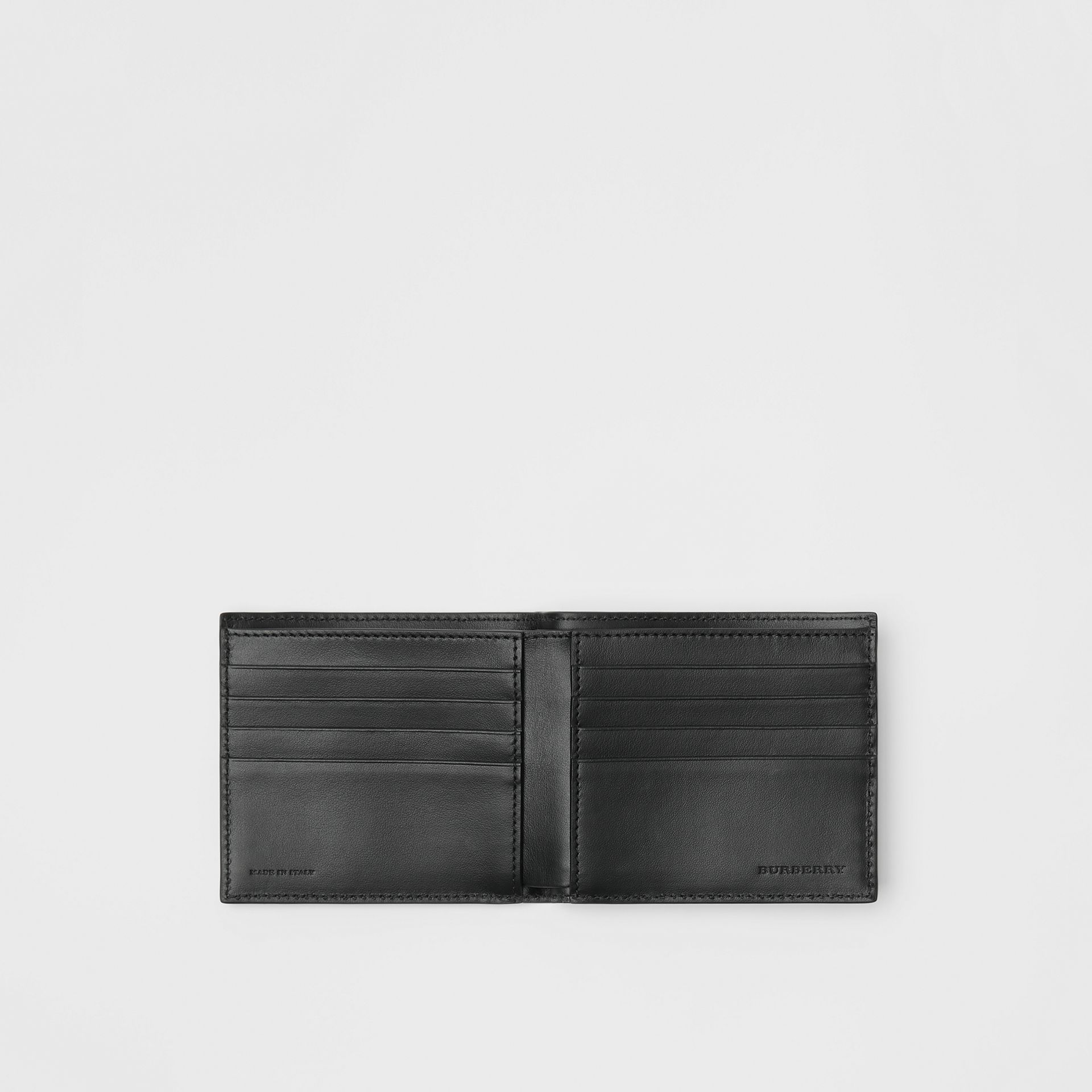 Link Print Leather International Bifold Wallet in Black - Men | Burberry Australia - gallery image 2
