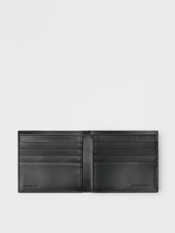 Link Print Leather International Bifold Wallet in Black - Men | Burberry Australia - cell image 2