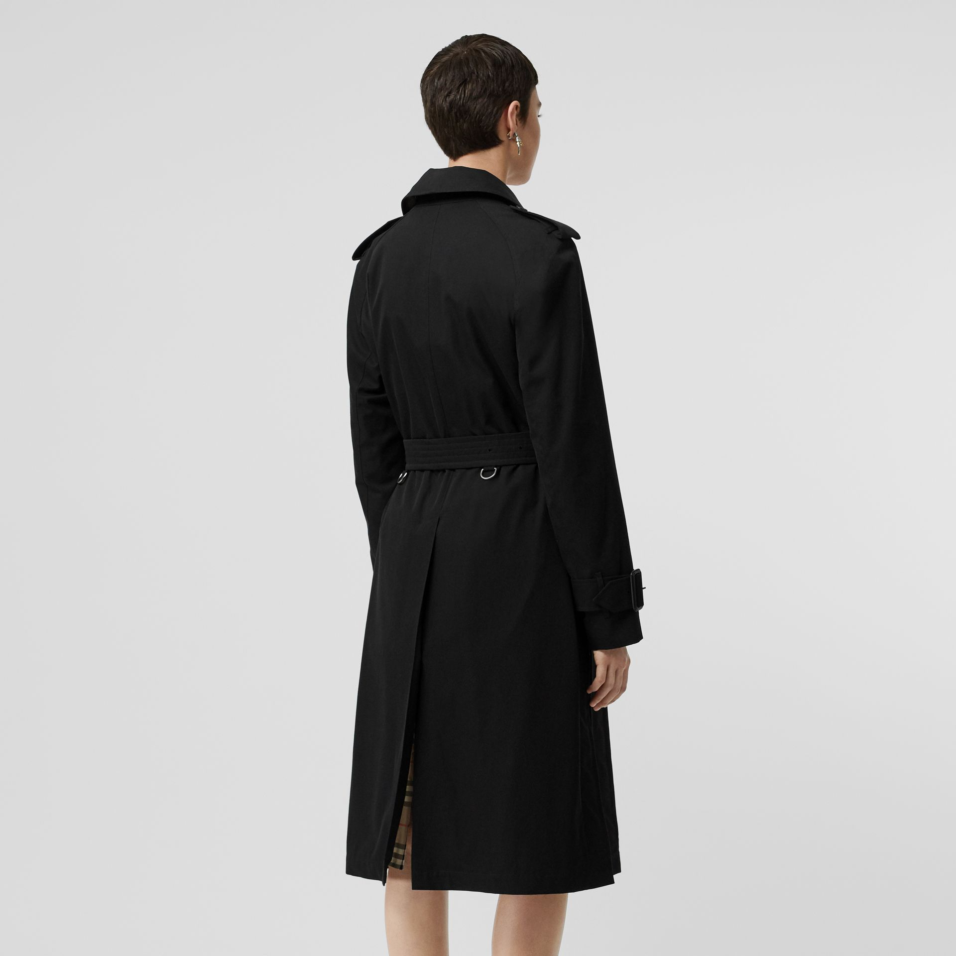 Tropical Gabardine Belted Car Coat in Black - Women | Burberry United States - gallery image 2