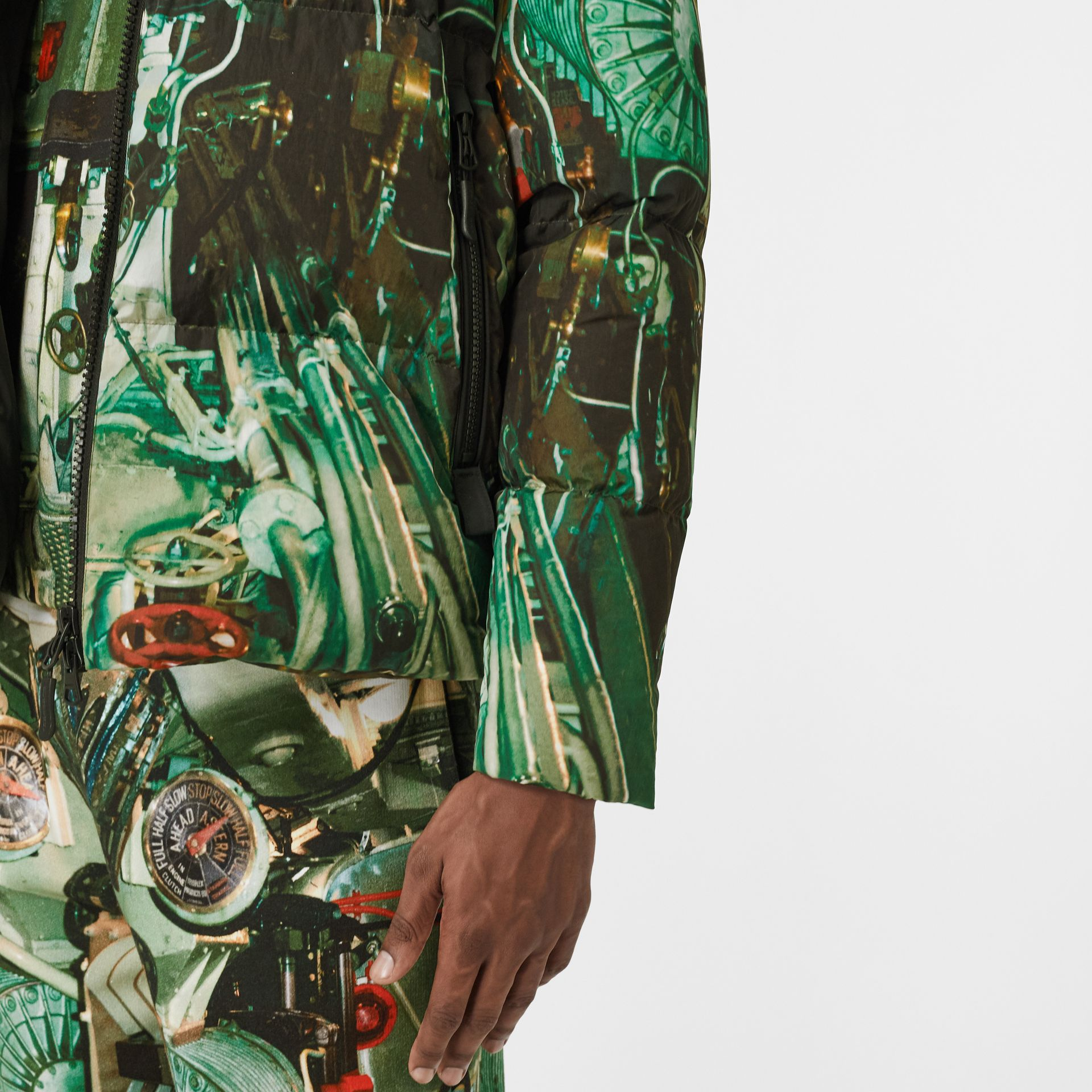 Submarine Print Puffer Jacket in Celadon Green - Men | Burberry United Kingdom - gallery image 5
